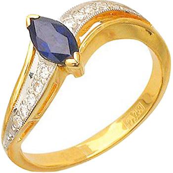 Кольцо из желтого золота с 10 бриллиантами весом 0.12 карат и сапфиром