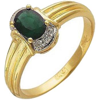 Кольцо из желтого золота с 6 бриллиантами весом 0.07 карат и изумрудом, артикул 32к640547-КО-БРИЗ
