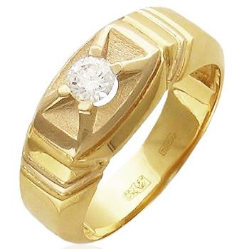 Кольцо из комбинированного золота с 1 бриллиантом весом 0.33 карат