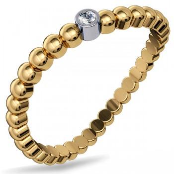 Кольцо из желтого золота с 1 бриллиантом весом 0.01 карат, артикул 01К637654W-КО-БР
