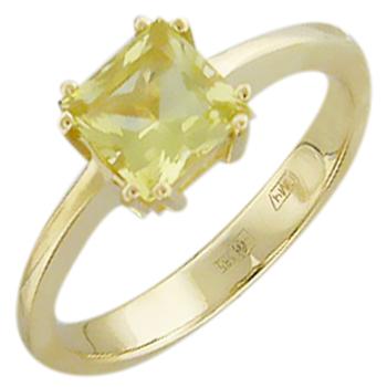 Кольцо из желтого золота с 1 кварцем весом 0.98 карат