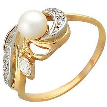 Кольцо из комбинированного золота с 1 жемчужиной весом 0.95 карат и фианитами