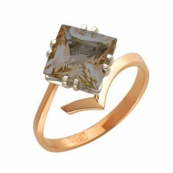 Кольцо из комбинированного золота с 1 раух-топазом, весом 2.49 карат