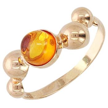 Кольцо из красного золота с янтарем, артикул 51К413090-КО-ЯН