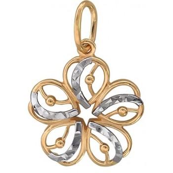 Подвеска Цветок с алмазной огранкой из красного золота 585 пробы
