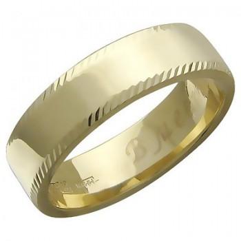 Обручальное кольцо вместе навсегда из желтого золота 585 пробы, артикул 01О730100-КО