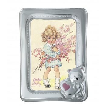 Рамка для фото  Мишка с сердечком  (розовая)