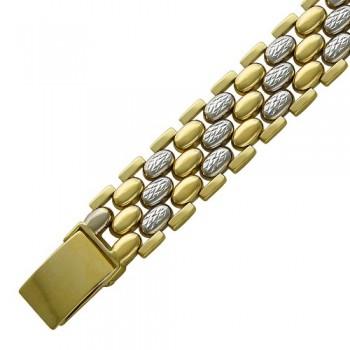 Браслет без вставок из комбинированного золота 585 пробы, артикул 01Б761553Ж-БР