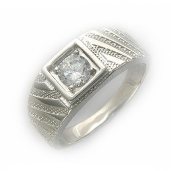 Кольцо с фианитом из серебра 925 пробы, артикул 45Т150065-КО-ФИ