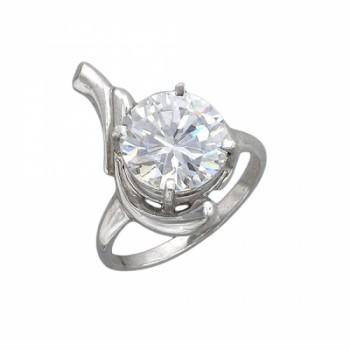 Кольцо из серебра с 1 фианитом, артикул 51К151704Р-КО-ФИ