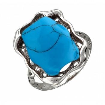 Кольцо из серебра с 1 бирюзой, артикул 51К450810Р-КО-БИ
