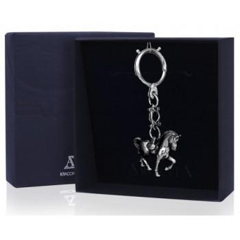 Серебряный брелок для ключей  - Лошадь с чернением