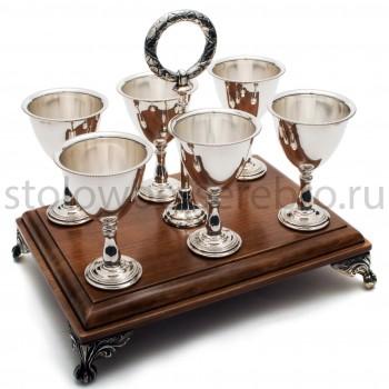 Серебряный набор для водки (6 рюмок на деревянной подставке)