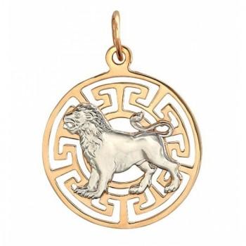 Подвеска Лев из комбинированного золота 585 пробы, артикул Б4Д063257-ПО