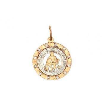 Подвеска Водолей из красного золота 585 пробы с цирконом