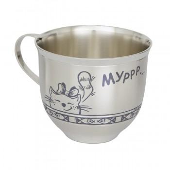 Серебряная чашка детская  Мурлыка, артикул 40080046Д05