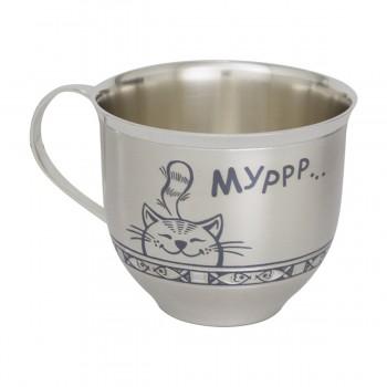 Серебряная чашка детская  Мурлыка, артикул 40080046М05