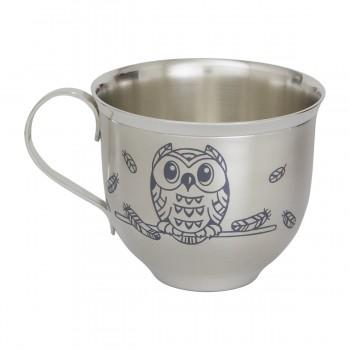 Серебряная чашка детская  Совушки