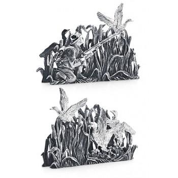 Серебряная подставка для визиток  - На охоте