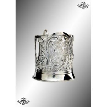 Серебряный подстаканник  Герб  литой