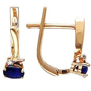 Серьги из красного золота с 2 бриллиантами весом 0.01 карат и сапфирами, артикул М4С614532-СЕ-БРСА