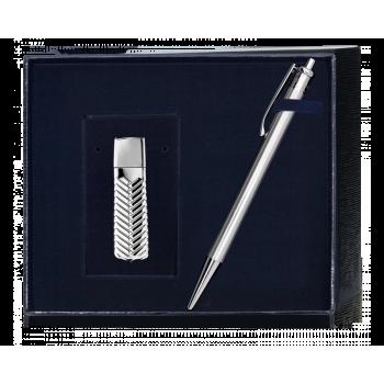 Серебряный набор ручка и флешка