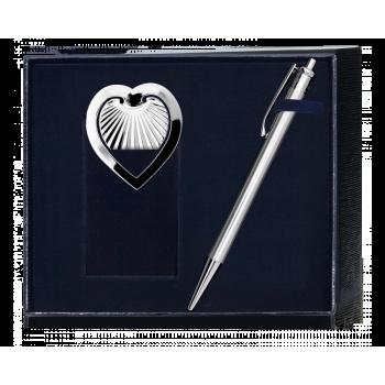 Серебряный набор ручка и закладка для книг