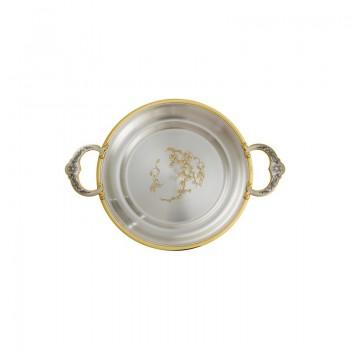 Серебряная тарелка-поднос  Сакура