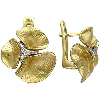 Серьги Цветы из комбинированного золота с 8 бриллиантами весом 0.04 карат